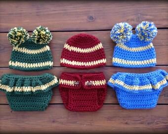 Crochet Newborn Photo Prop - Crochet UCLA Football Pattern - Cheer Diaper Cover and Hat Pattern - Football Baby