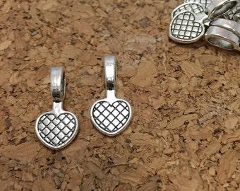 20pcs - Heart Bails - Silver