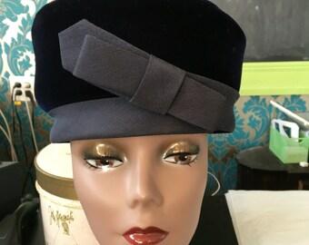 Navy Blue Velvet Pillbox hat c. 1960's