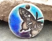 Midnight Butterfly- handmade ceramic ombre blue pendant aqua blue purple 9300
