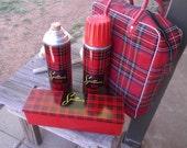 Sportsman lunch bag with thermos and tin lunch box in scotch plaid vintage 1950s