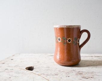 Bohemian Floral Mug Tan Cup Flower Mug Vintage Modern Mug Ceramic Mug