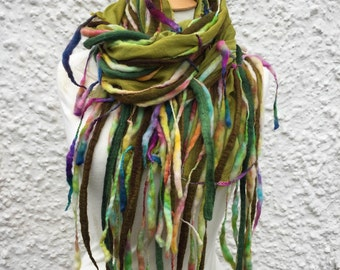 RESERVED for Caroline-colourful  wool scarf- unique Pixie Scarf- Autumn Scarf- Wool Scarf -  scarf- multi coloured scarf-hippie scarf- wool