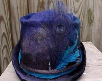 Fedora festival pixie hat-blue hat-Woodland Felted Hat - festival hat - tribal hat - steampunk hat-woolhat-bohemian hat