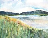 Original Watercolor Art Painting Marsh Block Mounted Landscape Ready to Hang Surroundings Cape Cod MA 18 x 18 by Erica Dale Strzepek
