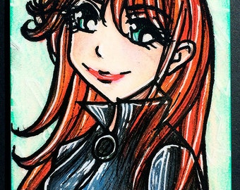 Original ACEO 2.5 in x 3.5 in - Anime Manga Style Marvel Comics Avengers Black Widow  - OOAK ATC Art Artwork Illustration Sketch Card