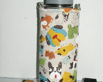 """Insulated Water Bottle Holder for 32oz Hydro Flask / Thermos with Interchangeble Handle/Strap """"Where's Your Dog?"""" Cotton Linen Natural"""