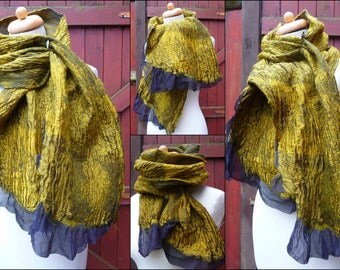 nuno felted scarf, wrap, handmade, silk, felted wool , art to wear, READY TO SHIP, black, gold, golden, mustard