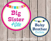 Printable Personalized Big Sister and Baby Brother Iron On Transfer Design.  Sibling Iron Ons. Big Sister Iron On. Baby Brother Iron On