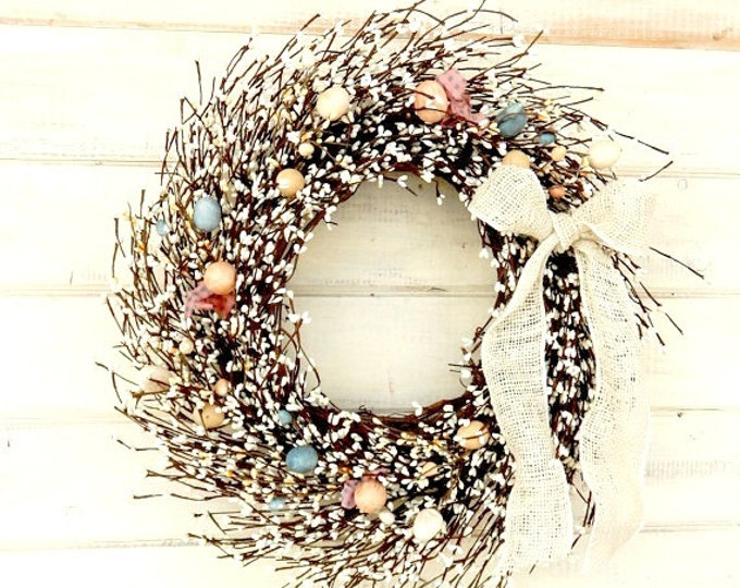 Featured listing image: Easter Wreath-Spring Wreath-Easter Egg Wreath-Spring Door Wreath-Easter Door Decor-Holiday Wreath-Scented Wreaths-Custom Made Gifts-