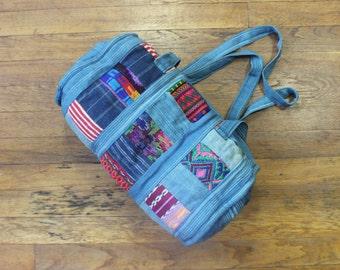 Indigo Duffel Bag / Embroidered Cotton Light Wash Denim Purse / Vintage Fabric Handbag
