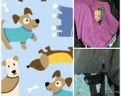 Precious Car-N-Go Poncho - Car Seat Poncho - Custom Double Layer Fleece - Cozy Puppies