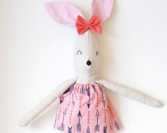 Nela // handmade rag doll bunny pink dress with arrows / birth gift / kids deco /kids room /
