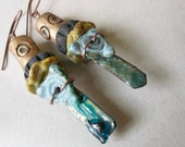 reserved for santafe anne-cosmic enameled numi sticks crusty criffley pit fired clay bead earrings with love