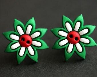 Holiday Earrings. Christmas Flower Earrings. Red and Green Earrings. Bronze Post Earrings. Xmas Earrings. Christmas Earrings.