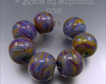 PURPLE ROSE & AMBER Bead Set - Handmade by Stephanie Gough sra Lampwork Beads FHFTeam LETeam