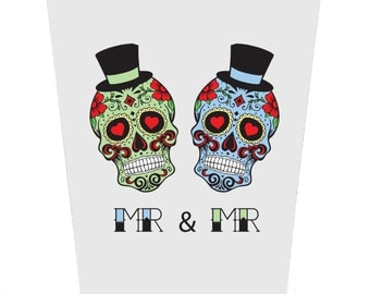 Sugar Skulls Groom and Groom Wedding Card
