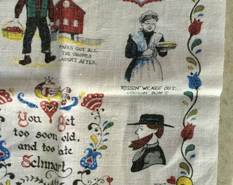 Vintage Decorative Linen cotton Kay DEE Tea kitchen towel amish
