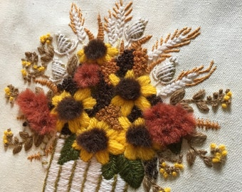 crewel embroidery 3D plant pictures flower arangements