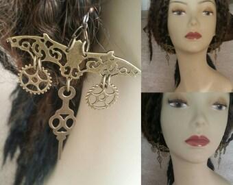 Steampunk bat and gear earrings