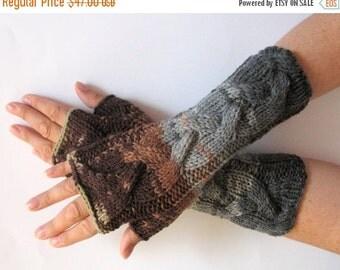 Fingerless Gloves Brown Beige Gray wrist warmers