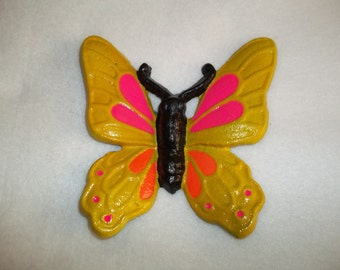 Cast Iron Butterfly / Monarch Butterfly / Home Decor / Blacklight / Yellow / Orange / Pink