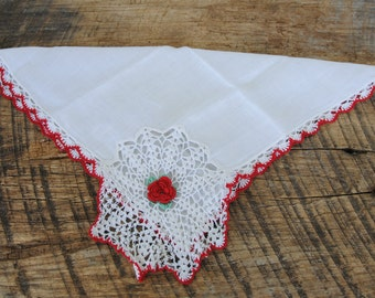 Vintage Hankie Red White Crochet Edge with Red Rose White Red Theme