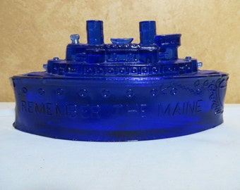 """REMEMBER THE MAINE"""" 1898 Spanish American War Lidded Candy Dish"""