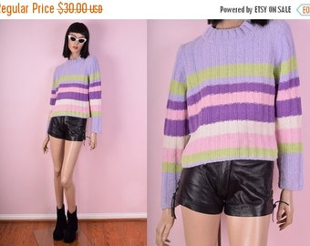SUMMER SALE 90s Striped Cropped Sweater
