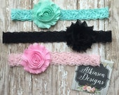 Shabby and Lace Headband SET -Mint Lace Headband- Black Lace Headband-Pink Lace Headband-Newborn/Infant/Toddler/Adult