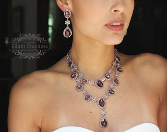 Wedding jewelry set, bridal jewelry, burgundy crystal necklace earrings, wine crystal jewelry set, evening formal jewelry, pom jewelry