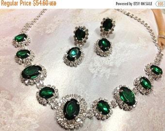 Wedding jewelry, bridesmaid necklace earrings, vintage inspired rhinestone bridal statement, Emerald Green crystal jewelry set