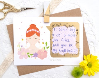 Be my Bridesmaid Card - Personalised Will you be my Bridesmaid scratch card - Will you be my Maid of Honour - Be my Flower Girl