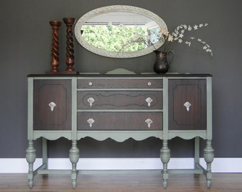"Antique Buffet, Sideboard, Entry Table Sage Green With Dark Stained Top & Front ""Summer Sage"" Modern Vintage"