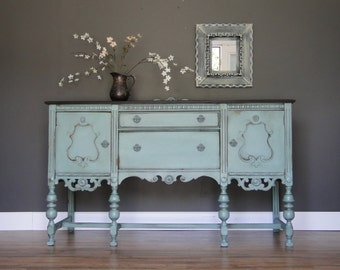 SOLD***   Antique Buffet, Sideboard, Entry Table Muted Turquoise With Dark Stained Rustic Top Modern Vintage