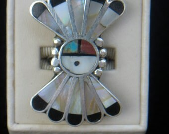 Vintage Sterling Silver Zuni Indian kachina Face Ring