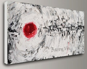 black white red abstract art painting oil acrylic home office decor wall interior texture impasto large canvas red black white Baron Visi