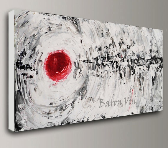 black white red abstract art painting oil acrylic home office. Black Bedroom Furniture Sets. Home Design Ideas