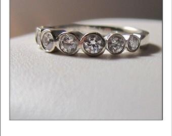 Estate 18k .75 CT  Bezel Diamond  Wedding Ring Band