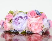Flower Crown - Lilac and Pink Flower Rustic Halo - Flowergirl hairpiece - Wedding - Newborn Prop - Wedding Crown - Floral Hairpiece