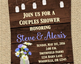 Rustic Barn Country Wedding Shower Invitation Print Your Own