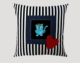 """Decorative Pillow Case, Thick Cotton Black-White Throw pillow case with Cat and Heart accent, 16""""x16"""",  Cushion case, Toss pillow case"""