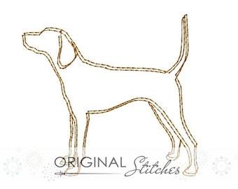 Quick Stitch Coonhound Machine Embroidery Digital Design File 4x4 5x7 6x10 7x7
