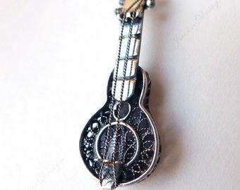 Guitar Ukulele String Music instrument Sterling Silver Pendant JD62