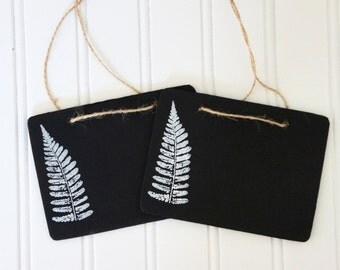 Chalk board signs, chalk board tags, set of chalk board signs, botanical signs, fern, reusable chalk signs by My Sweet Maison.