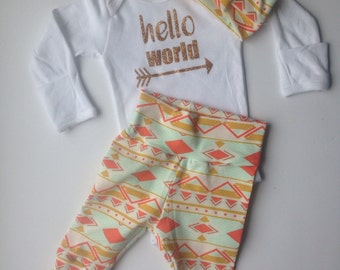 Newborn Baby coming home outfit / gold and peach aztec going home set/ hello world / shower gift / coming home from the hospital set