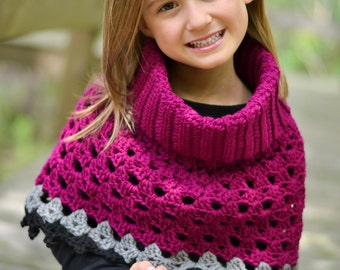 Crochet poncho girls crochet cowl neck poncho toddler shawl crochet sweater crochet cape caplet crochet capelet ready to ship