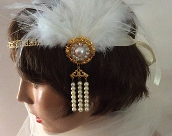 GOLD GATSBY HEADPIECE fascinator flapper headband bridal accessories white feather 1920s headband flapper headpiece bridal headband