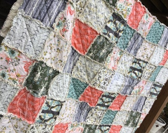 King Size Rag Quilt Forest Floor - Coral - Gray - Blue - Pink - Modern Handmade Bedding