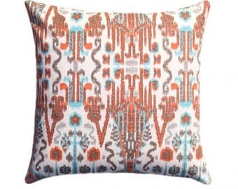 Two 20 x 20  Custom Pillow Covers - Lacefield Bombay Ikat - Orange, Turquoise Blue, Brown